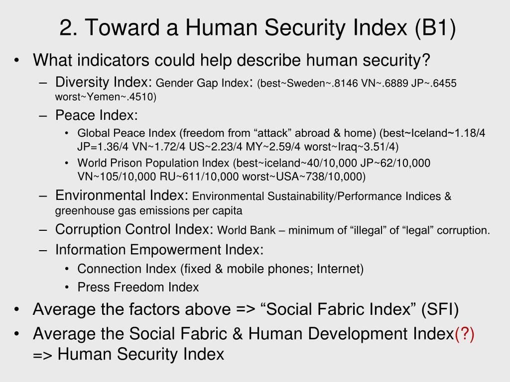 2. Toward a Human Security Index (B1)