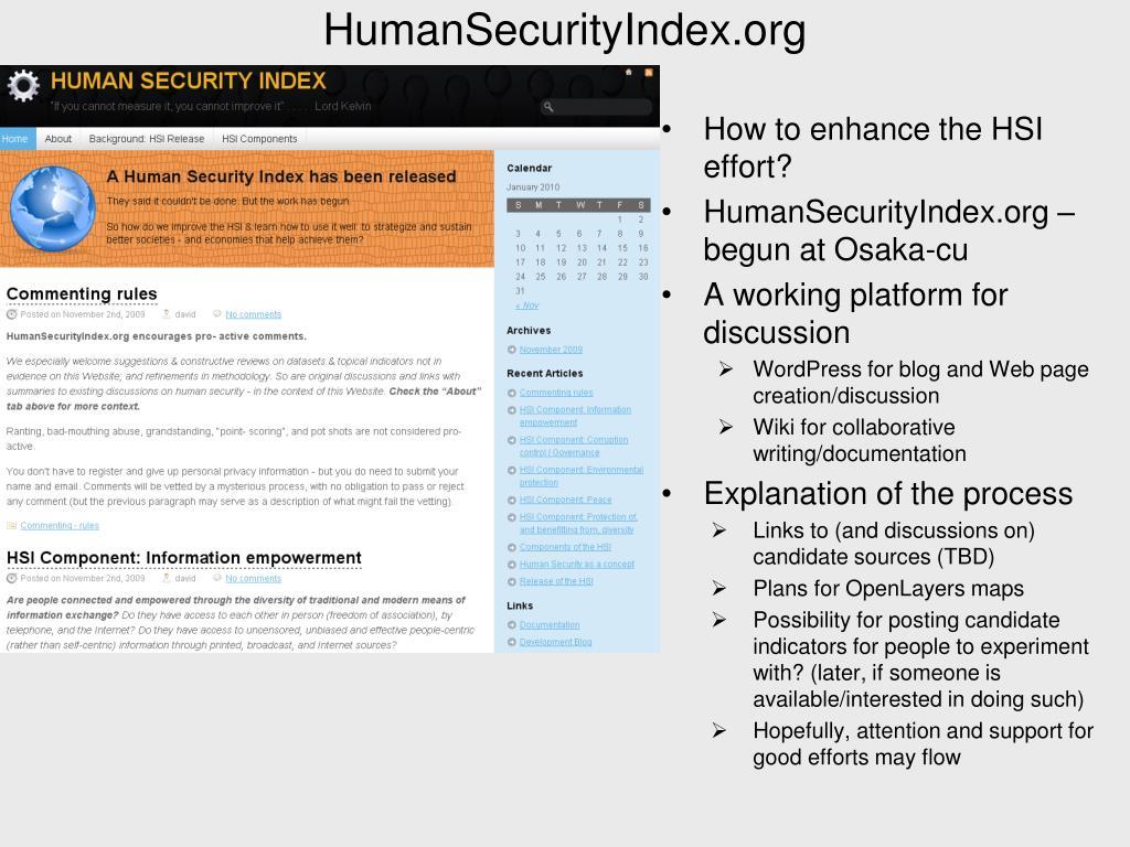 HumanSecurityIndex.org