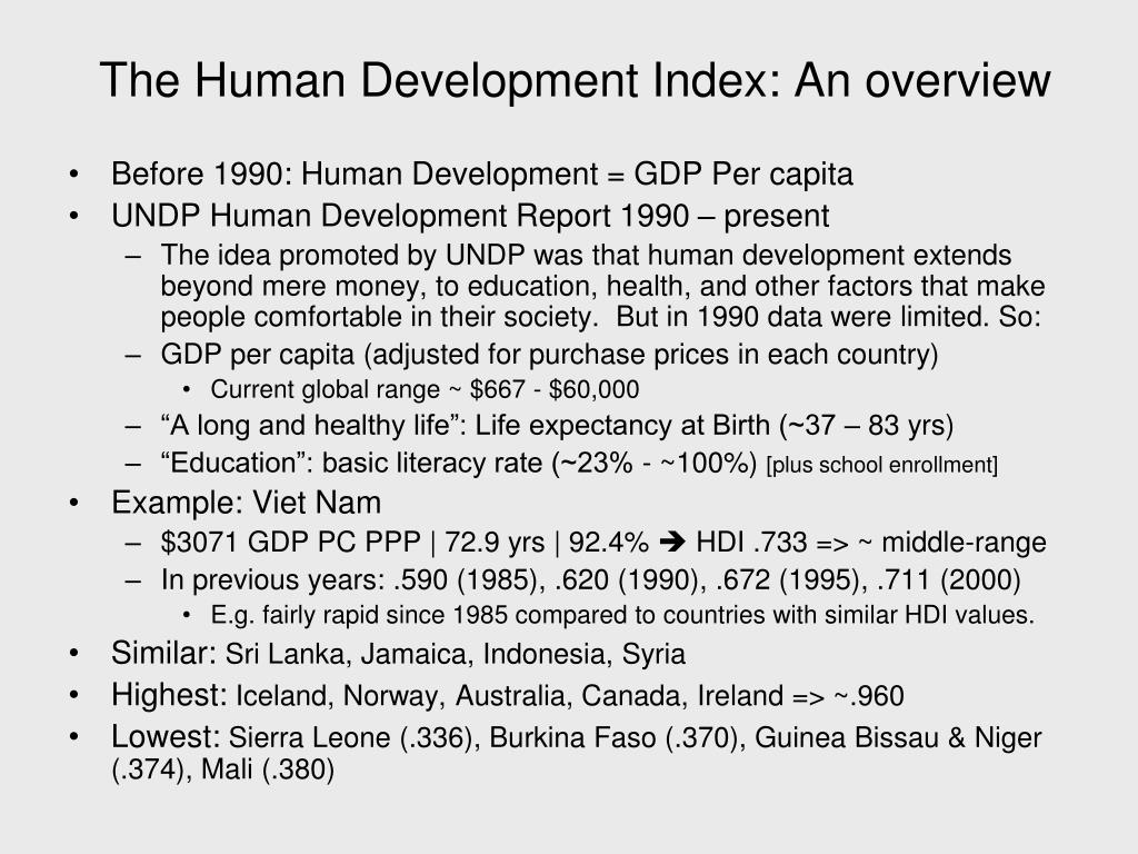 The Human Development Index: An overview