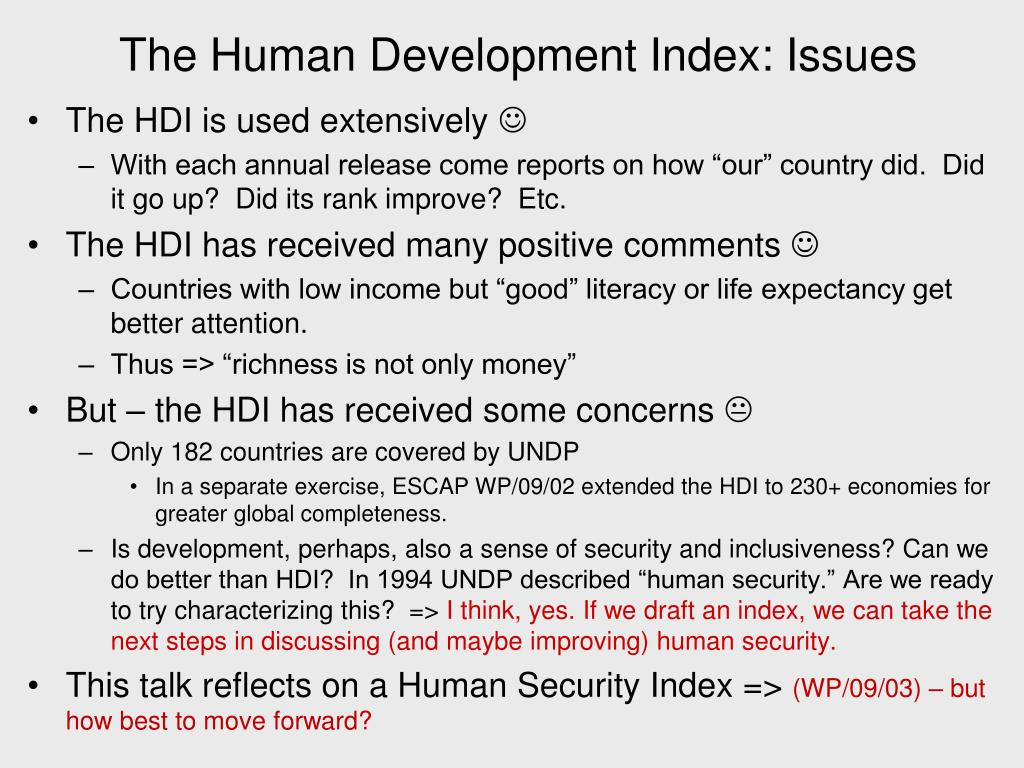The Human Development Index: Issues