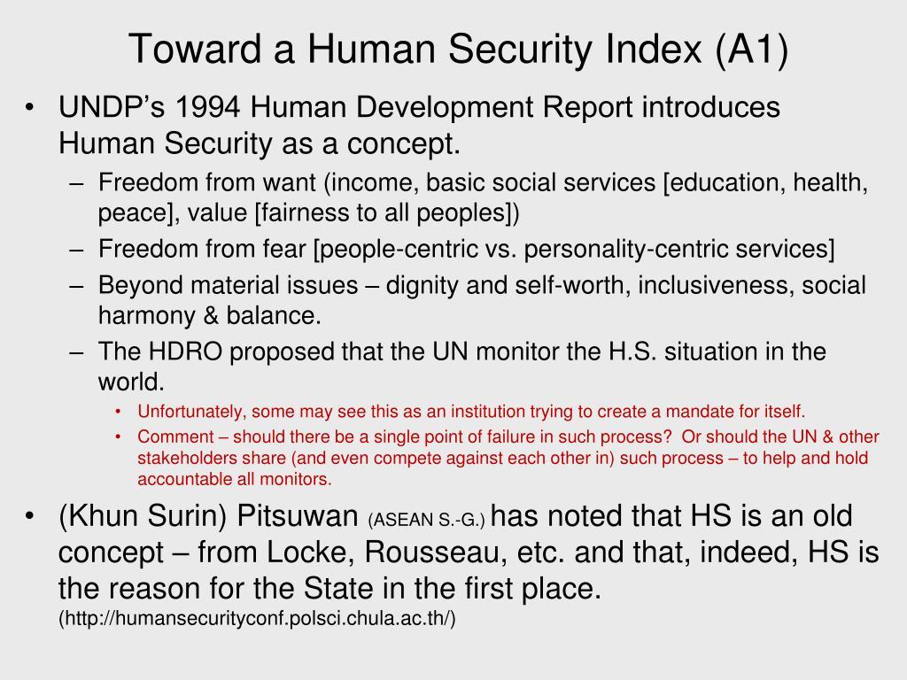 Toward a Human Security Index (A1)