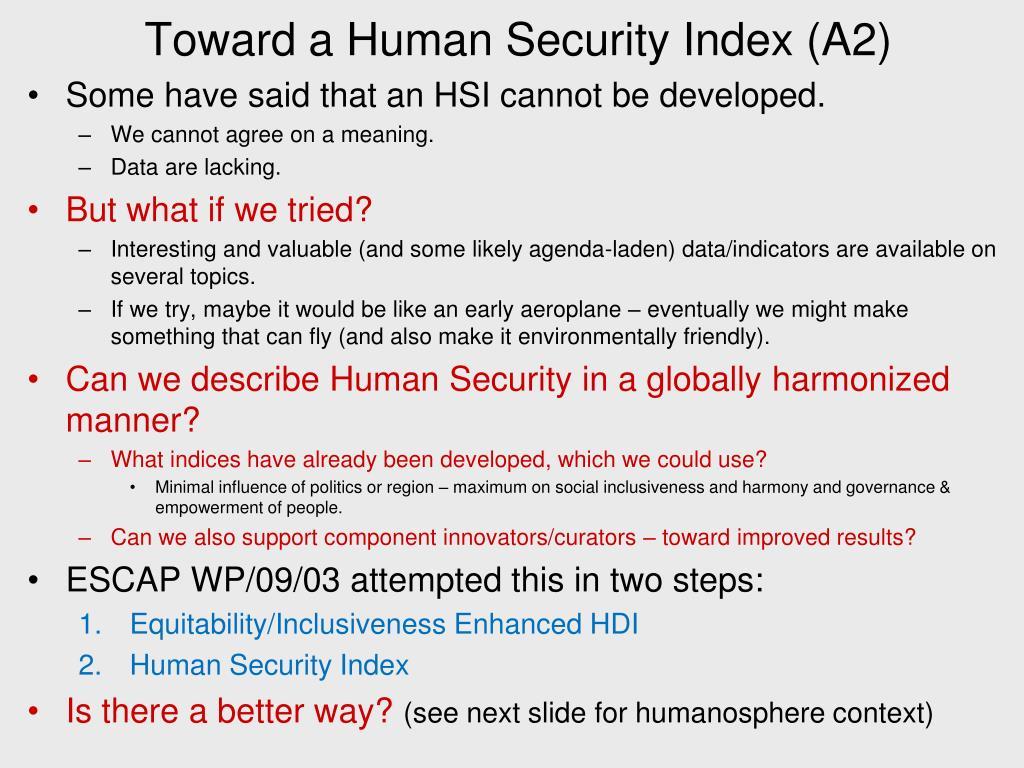 Toward a Human Security Index (A2)