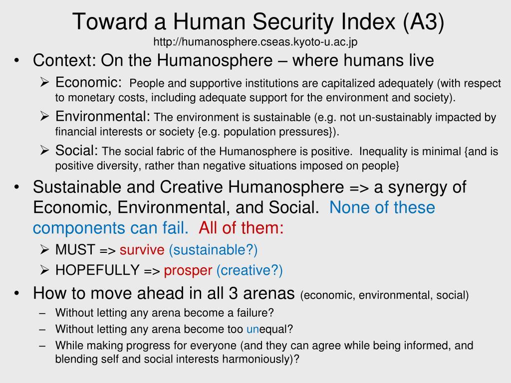 Toward a Human Security Index (A3)