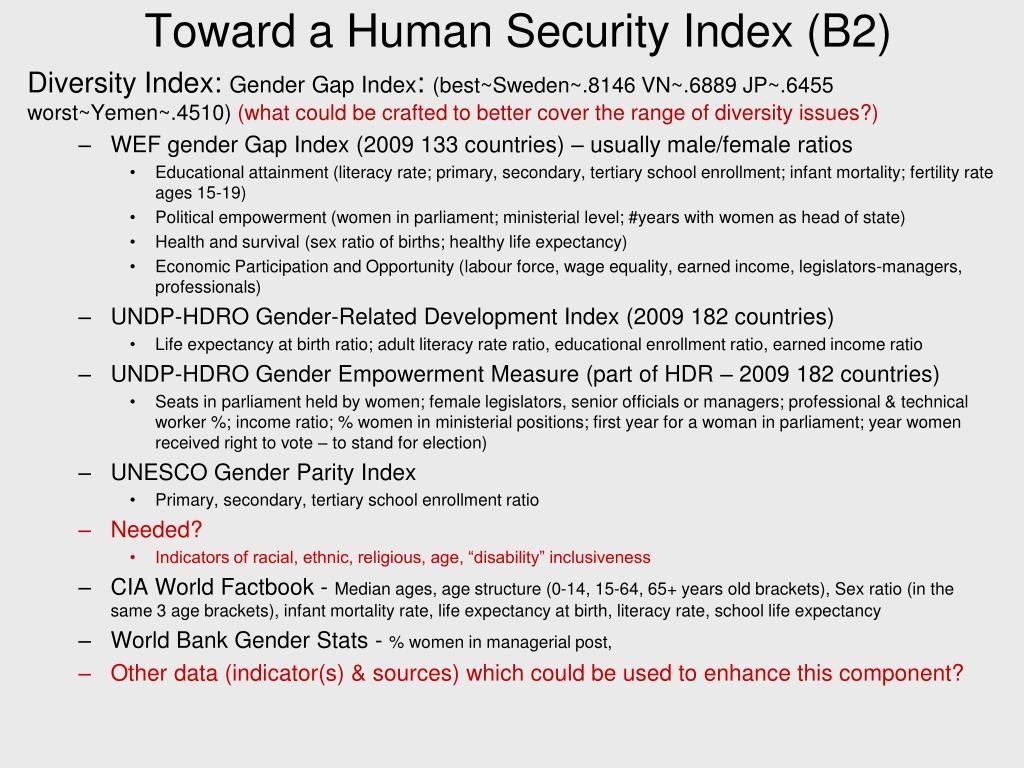 Toward a Human Security Index (B2)