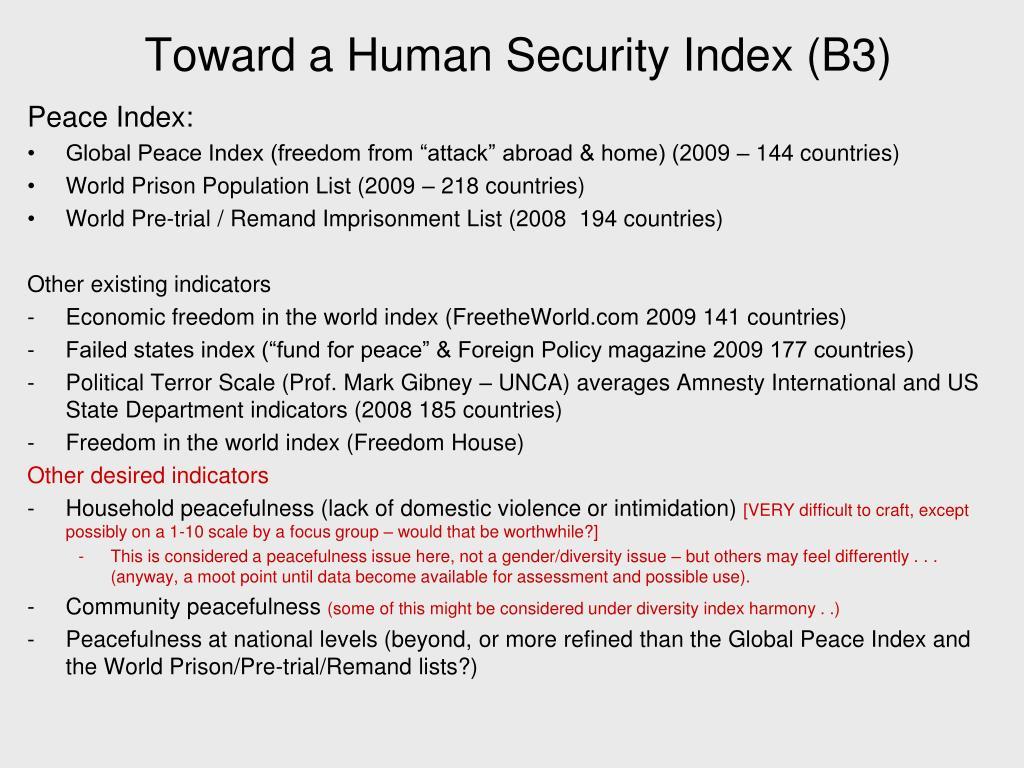 Toward a Human Security Index (B3)