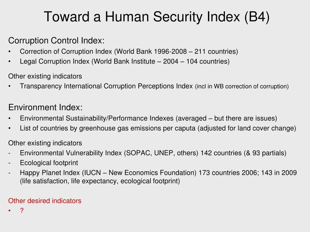 Toward a Human Security Index (B4)