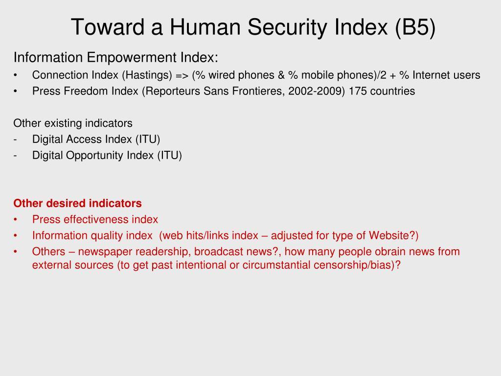 Toward a Human Security Index (B5)