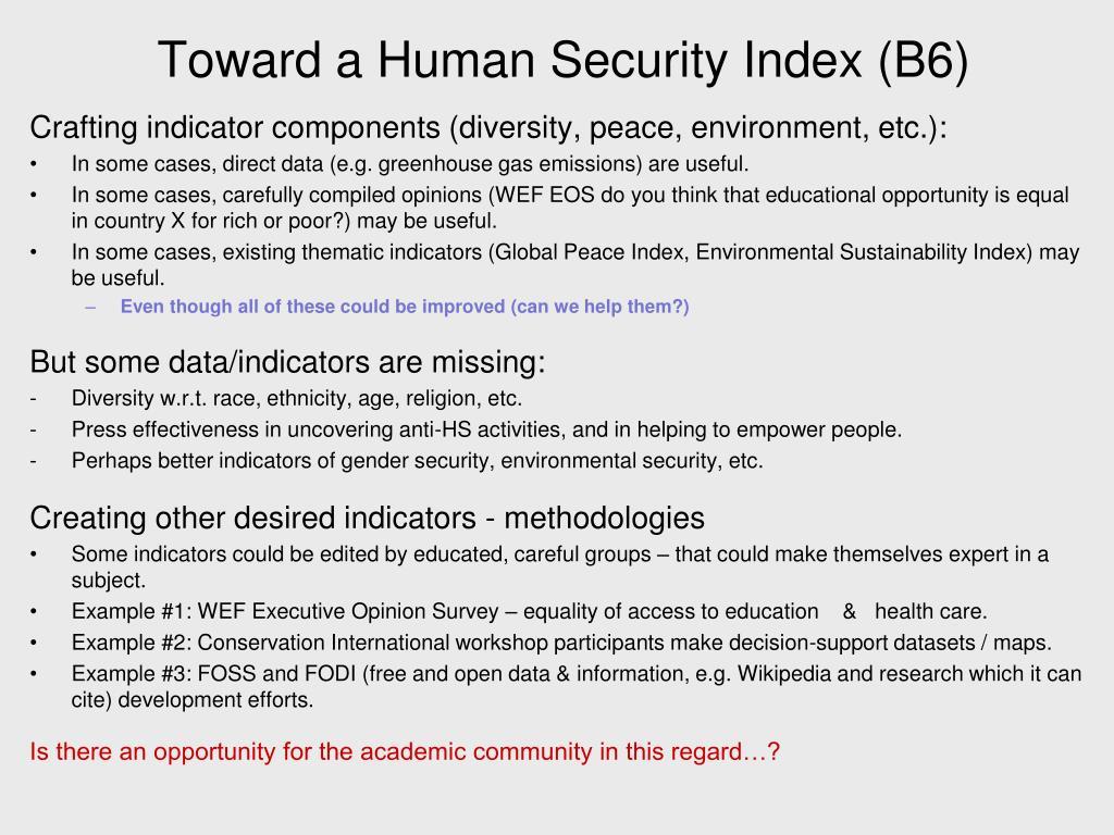 Toward a Human Security Index (B6)