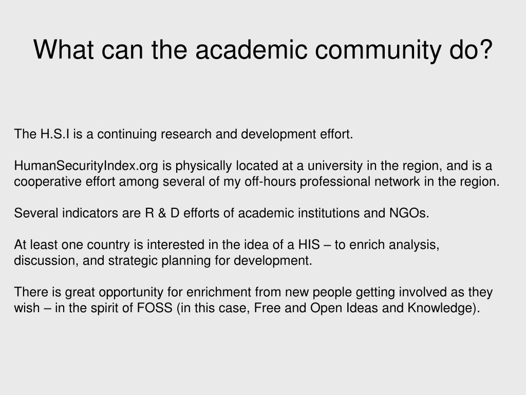 What can the academic community do?