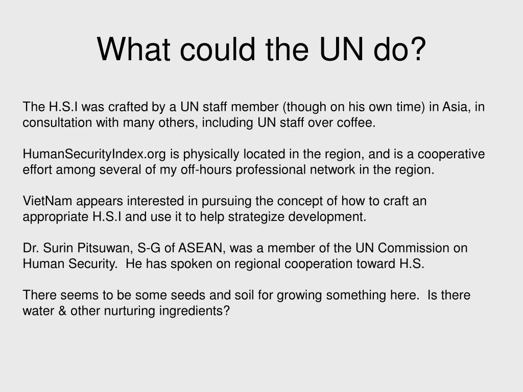 What could the UN do?