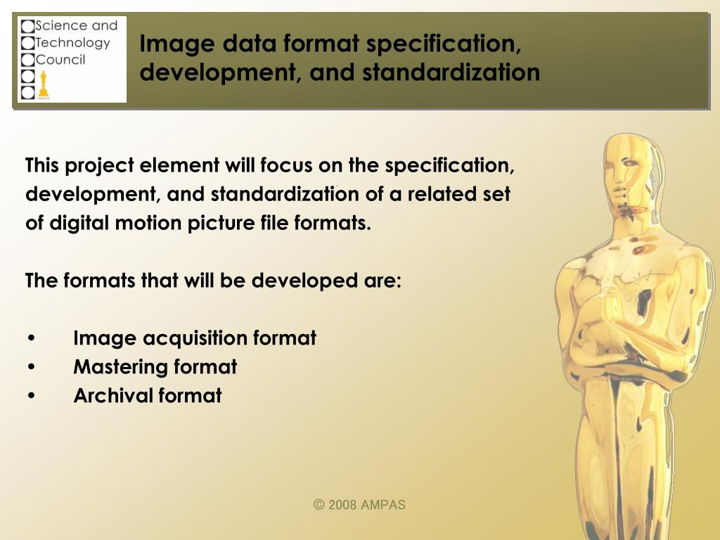Image data format specification, development, and standardization