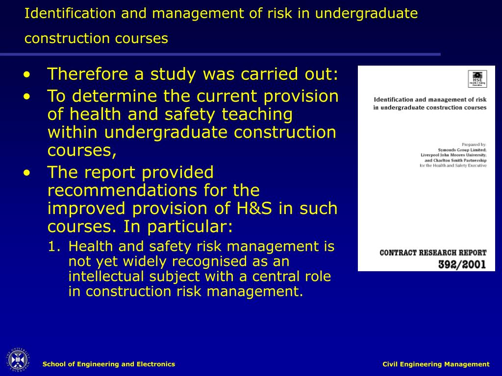 Identification and management of risk in undergraduate construction courses