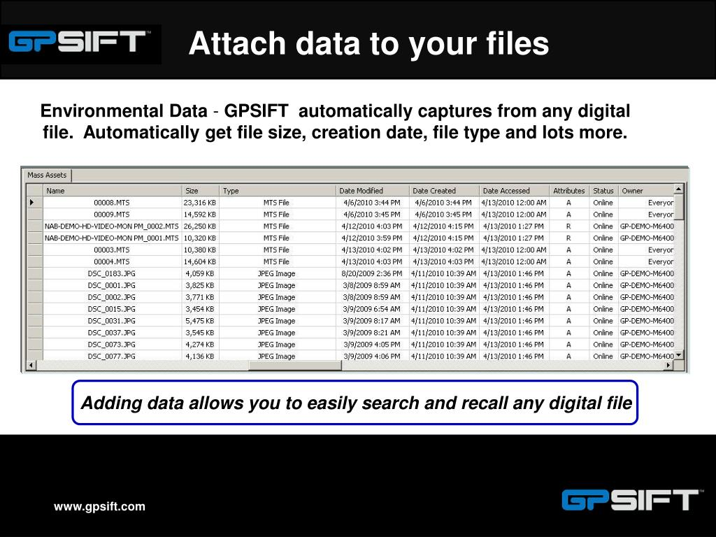 Attach data to your files