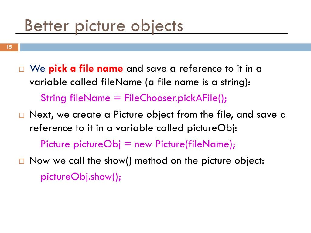 Better picture objects