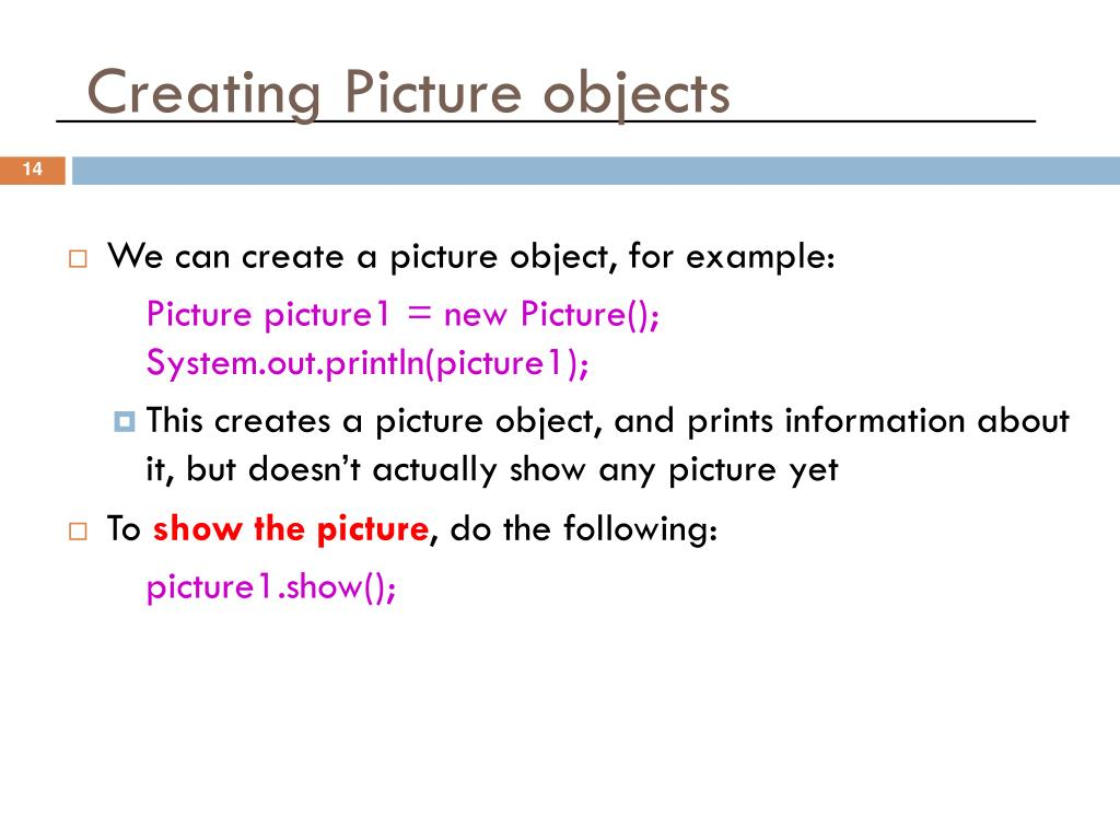 Creating Picture objects