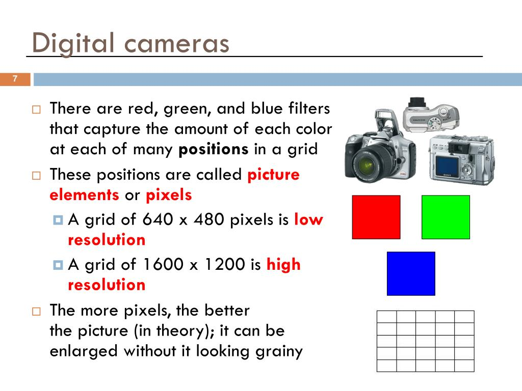 There are red, green, and blue filters that capture the amount of each color at each of many
