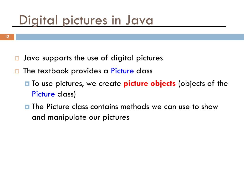 Digital pictures in Java