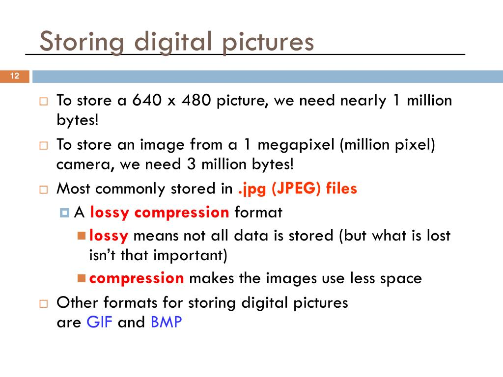 Storing digital pictures