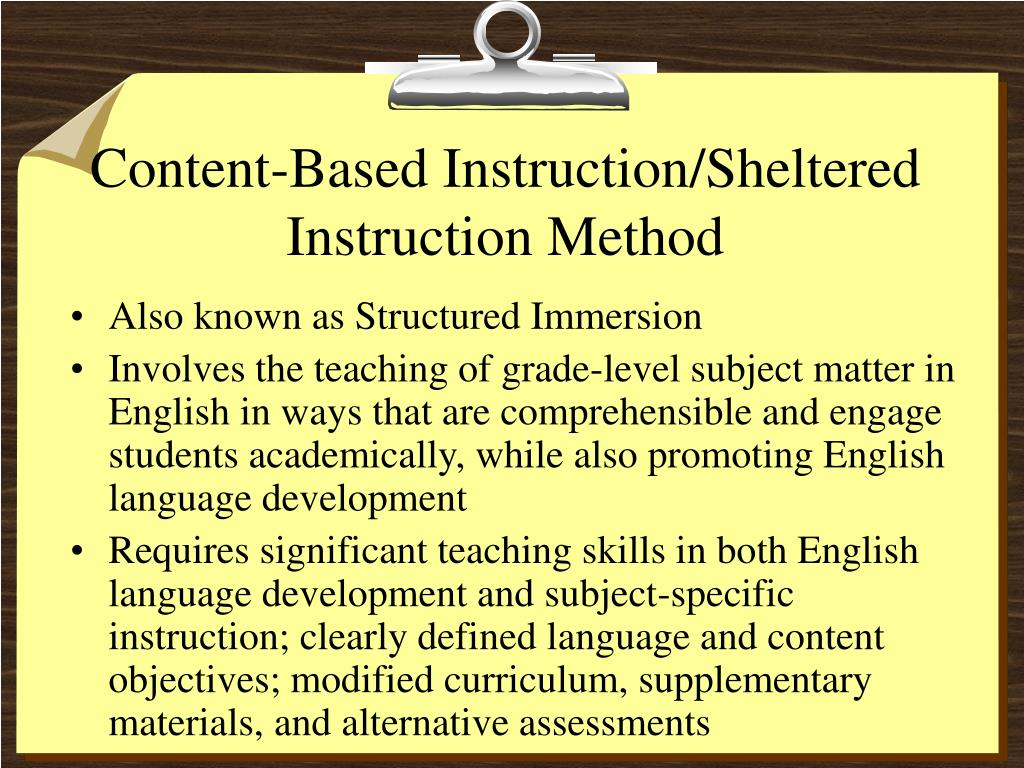 Content-Based Instruction/Sheltered Instruction Method