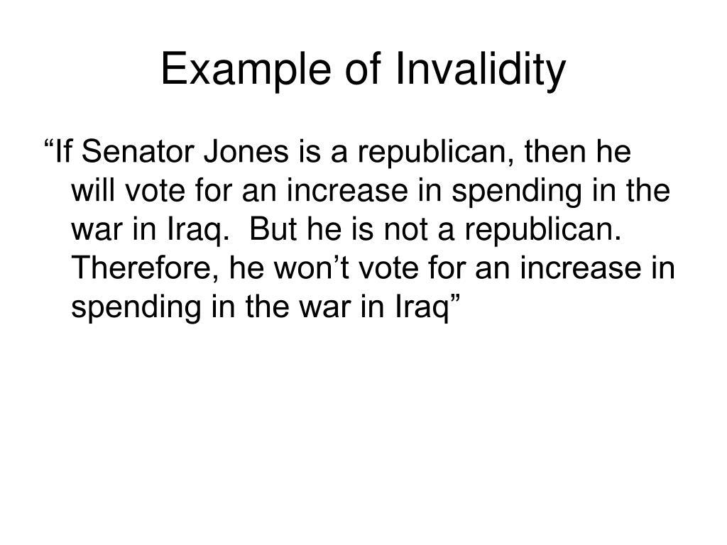 Example of Invalidity
