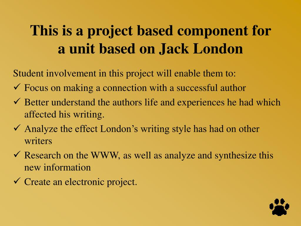 This is a project based component for a unit based on Jack London