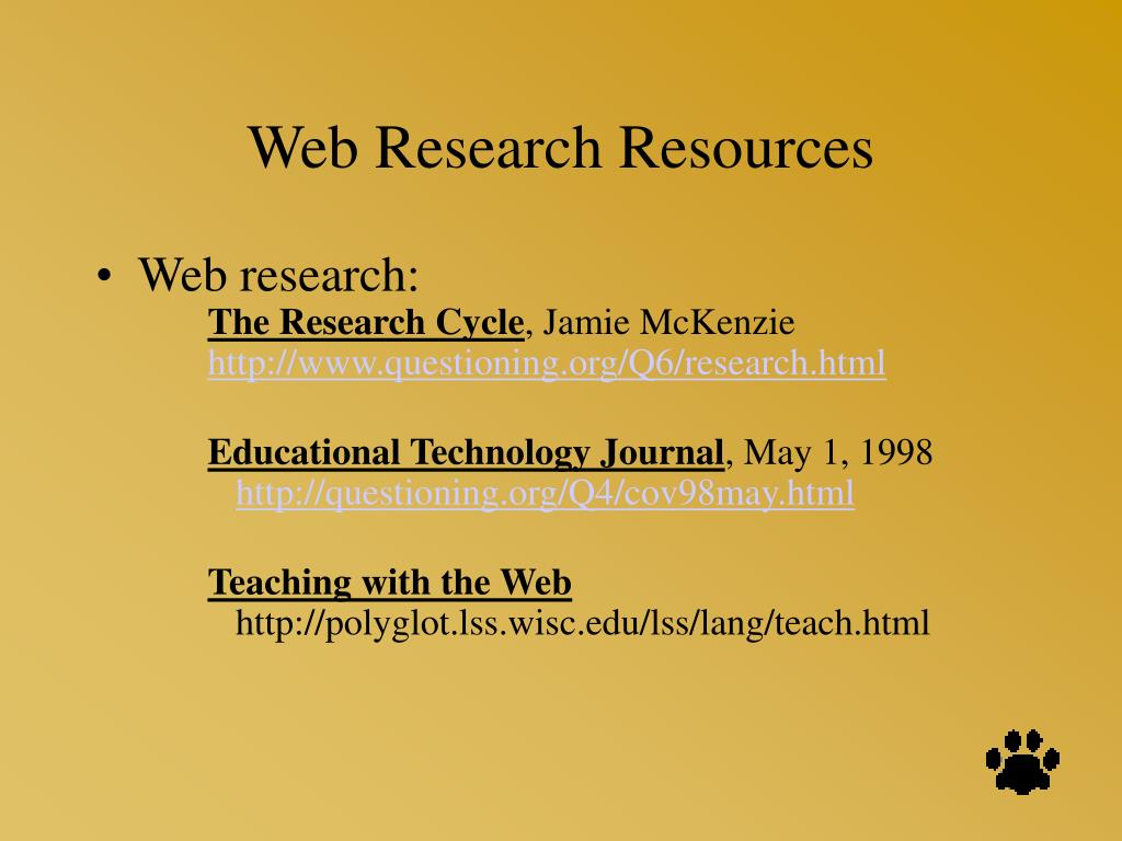 Web Research Resources