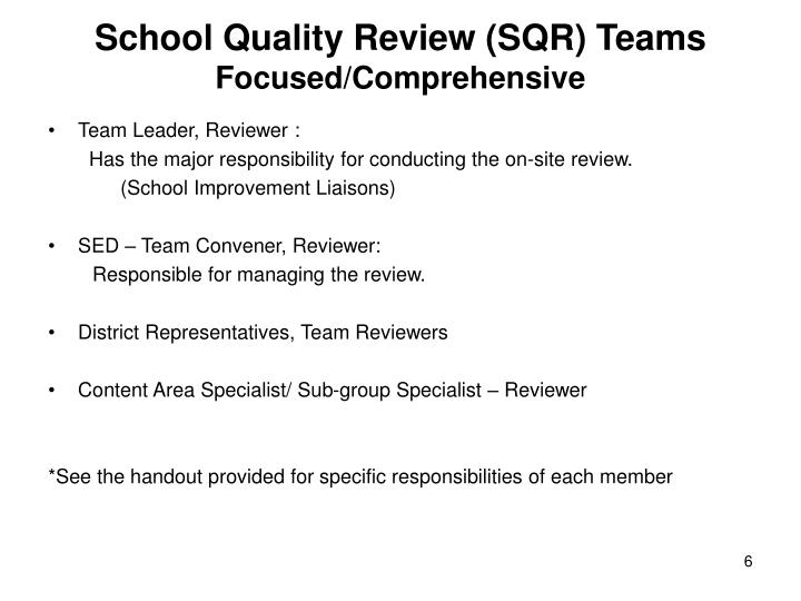 School Quality Review (SQR) Teams