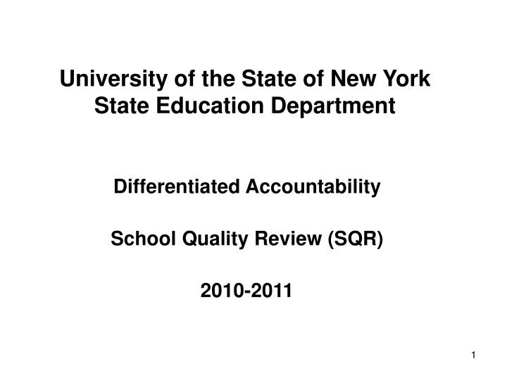 University of the state of new york state education department