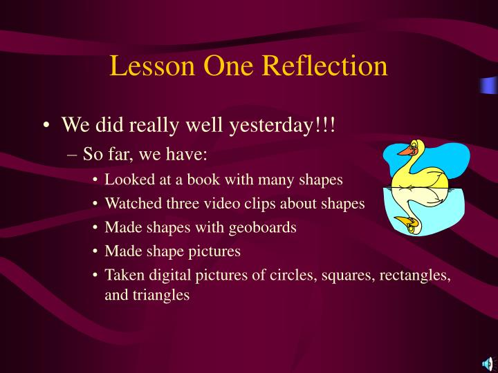Lesson one reflection