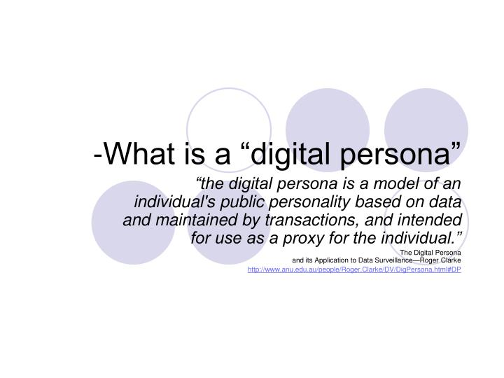 What is a digital persona