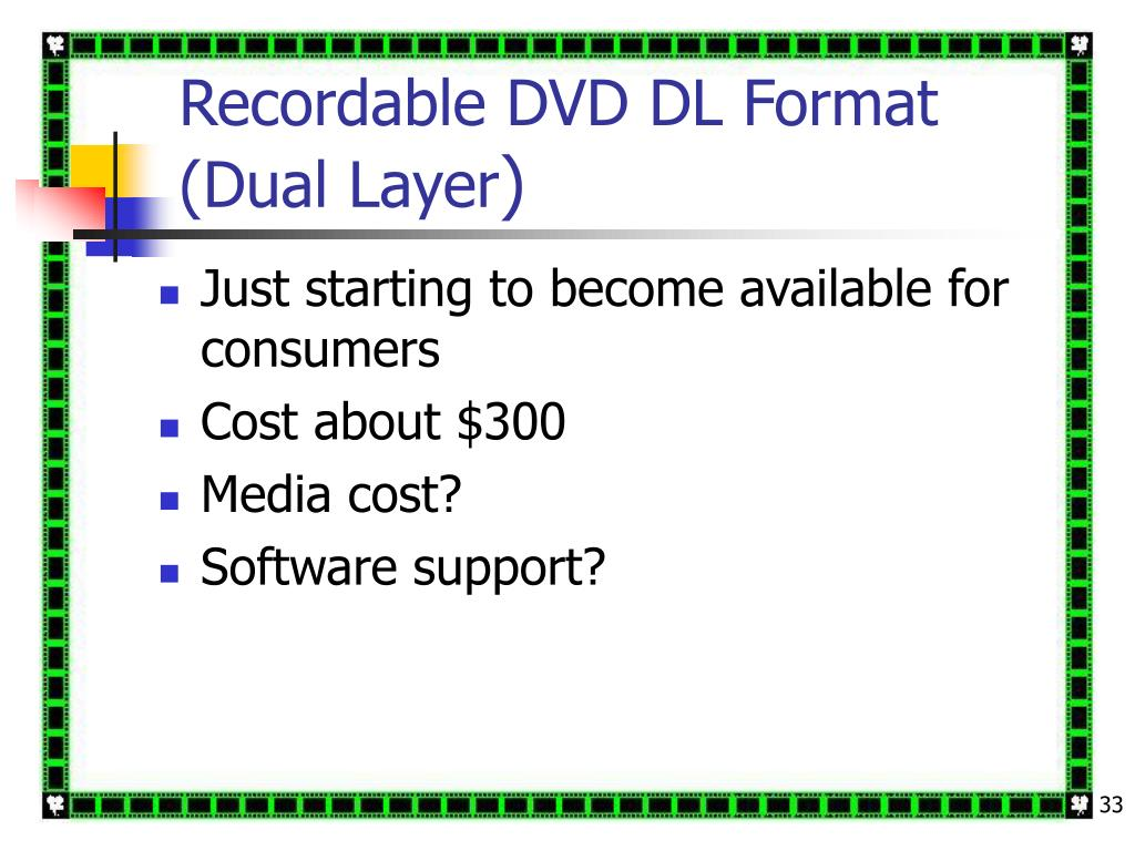 Recordable DVD DL Format