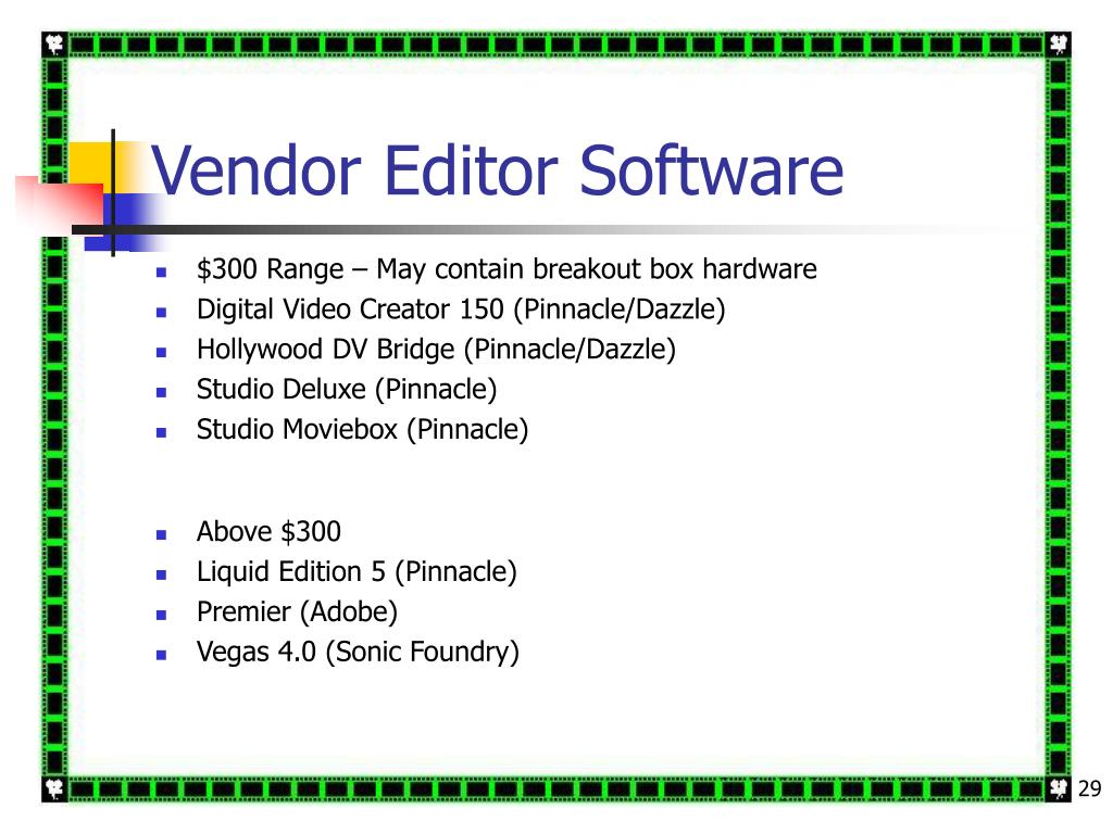 Vendor Editor Software