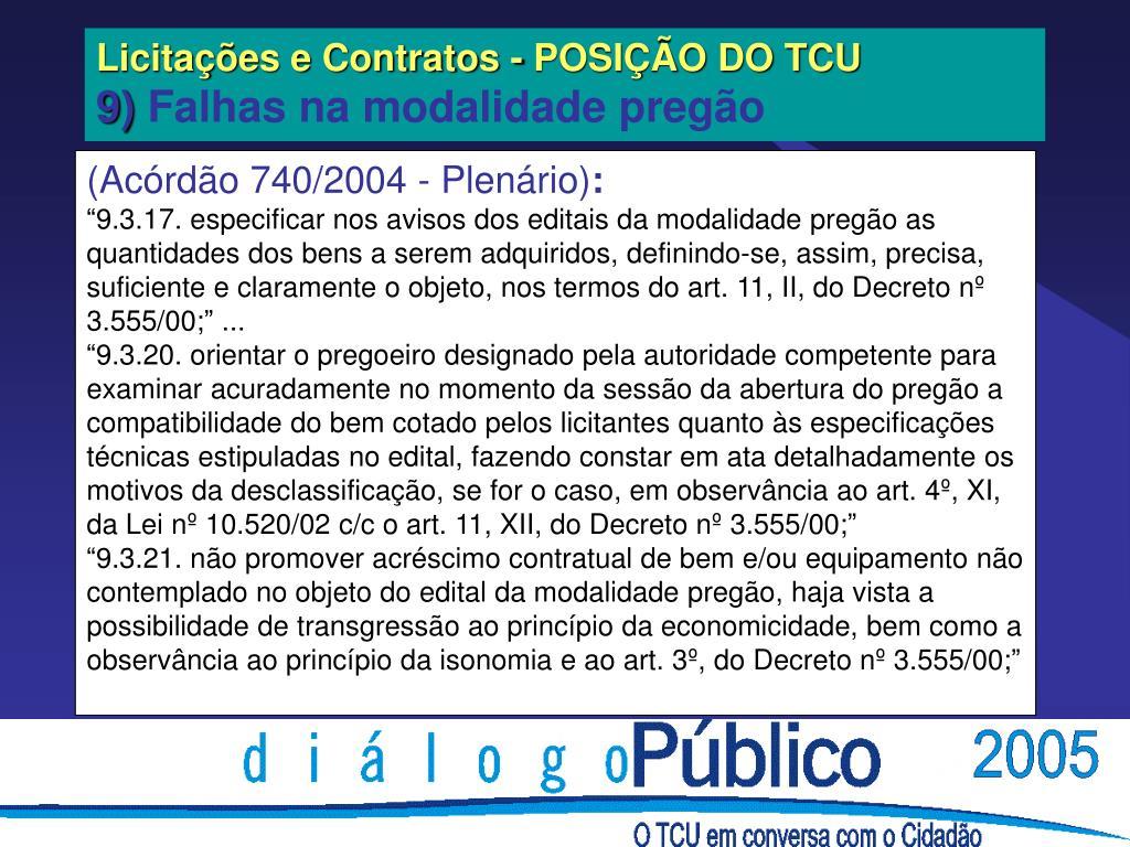 Licitações e Contratos - POSIÇÃO DO TCU