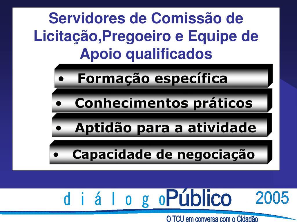 Servidores de Comissão de Licitação,Pregoeiro e Equipe de Apoio qualificados