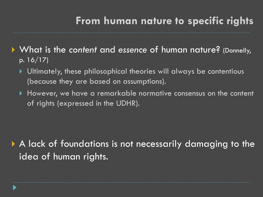 From human nature to specific rights
