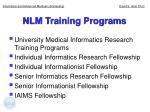 nlm training programs