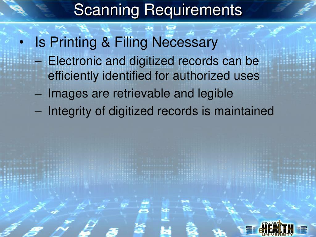 Scanning Requirements