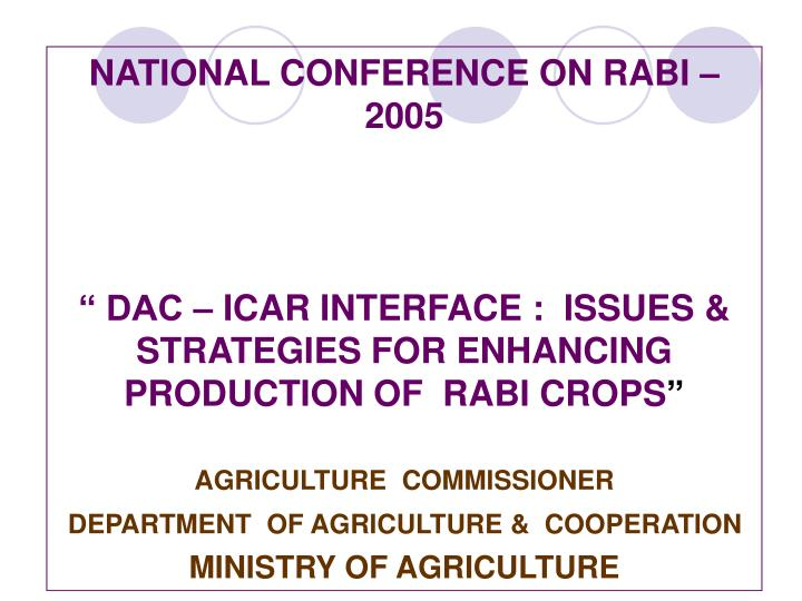 NATIONAL CONFERENCE ON RABI – 2005