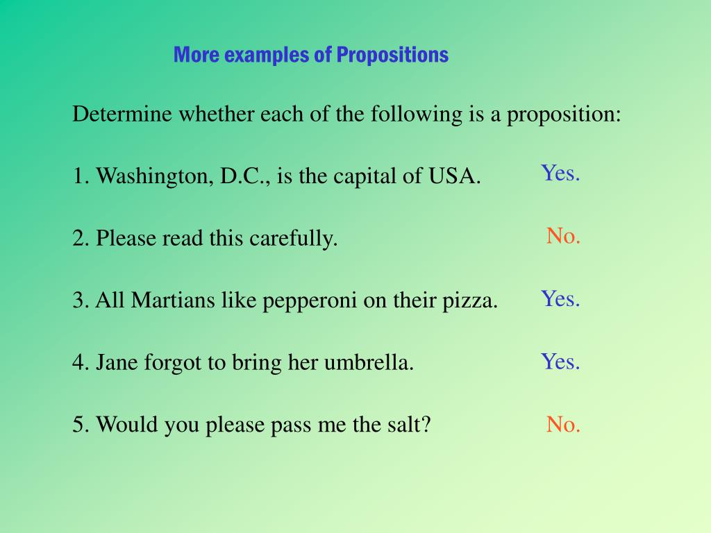 More examples of Propositions