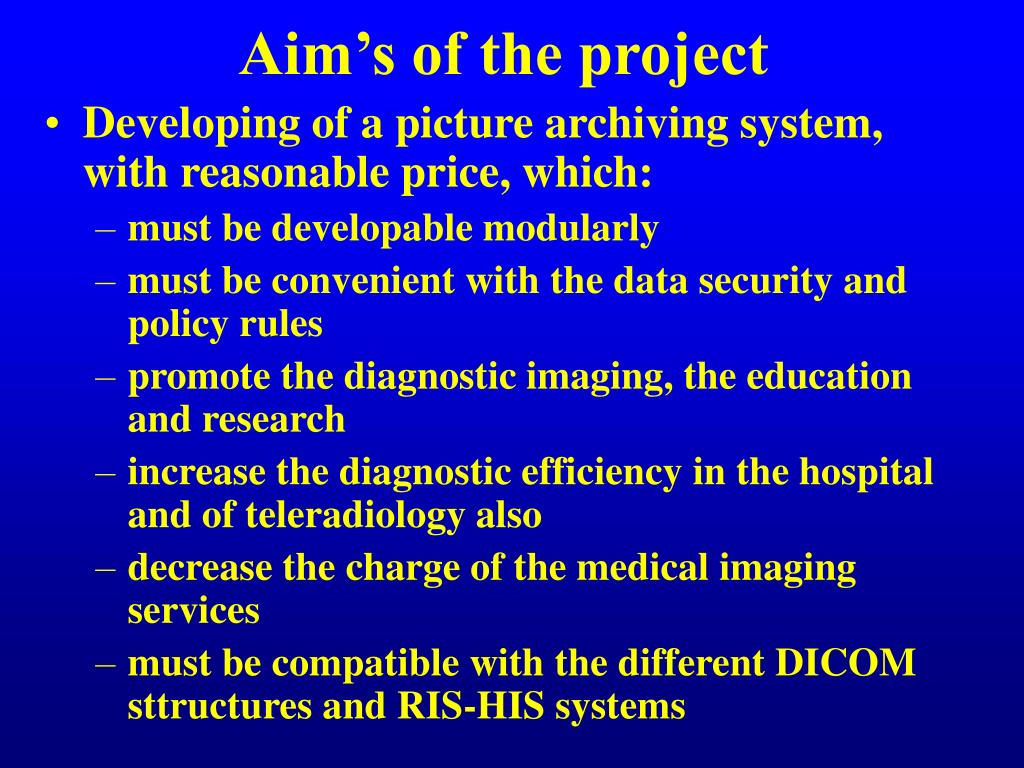 Aim's of the project
