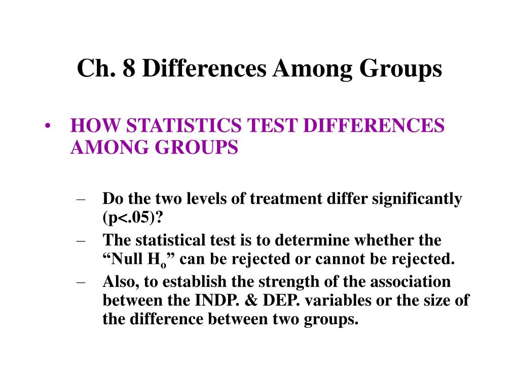 Ch. 8 Differences Among Groups