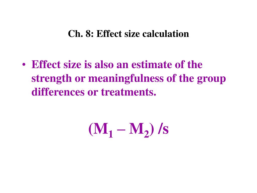 Ch. 8: Effect size calculation