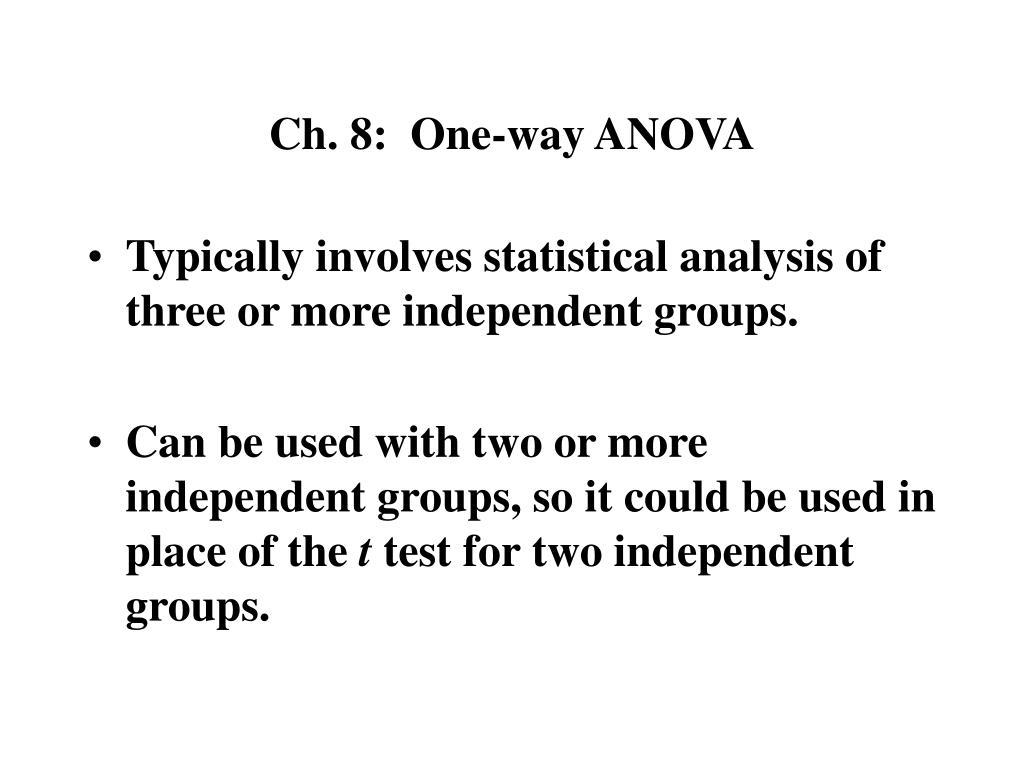 Ch. 8:  One-way ANOVA