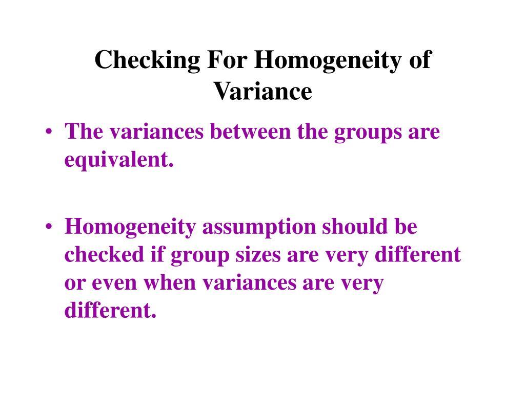 Checking For Homogeneity of Variance