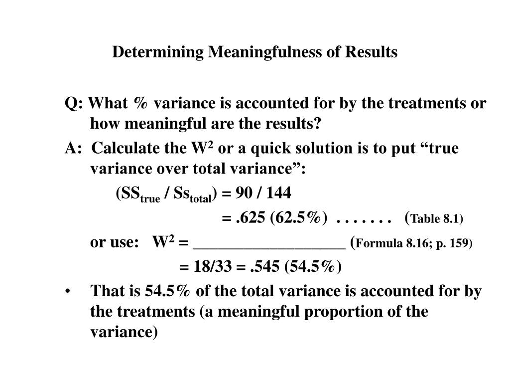 Determining Meaningfulness of Results