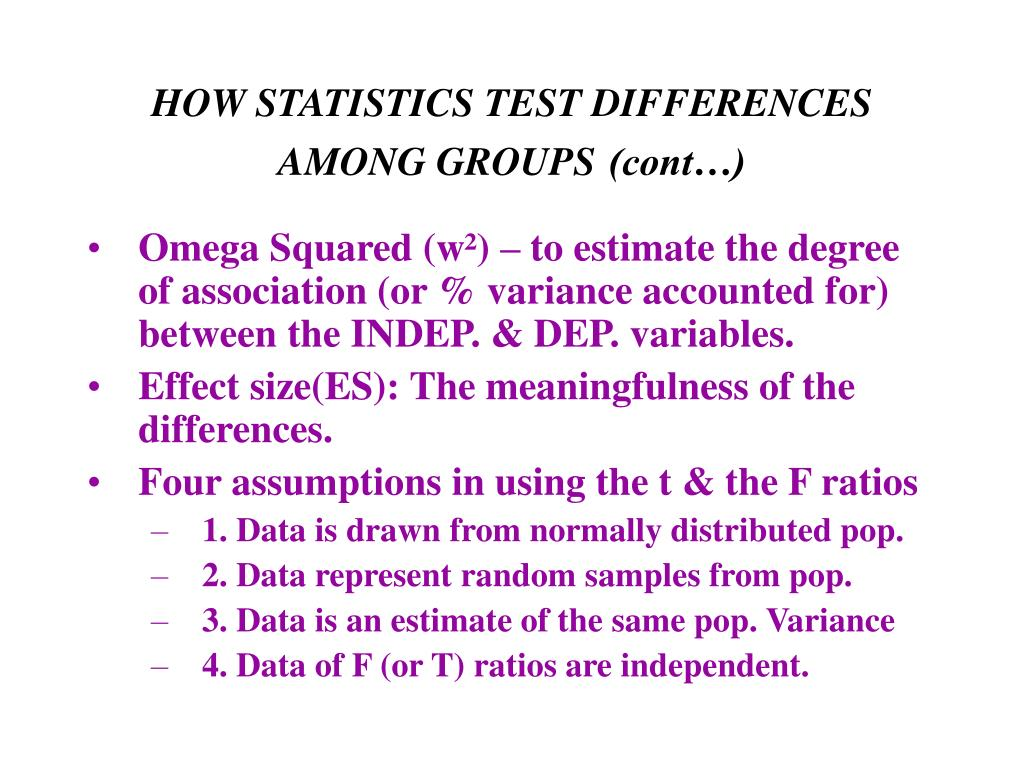 HOW STATISTICS TEST DIFFERENCES AMONG GROUPS