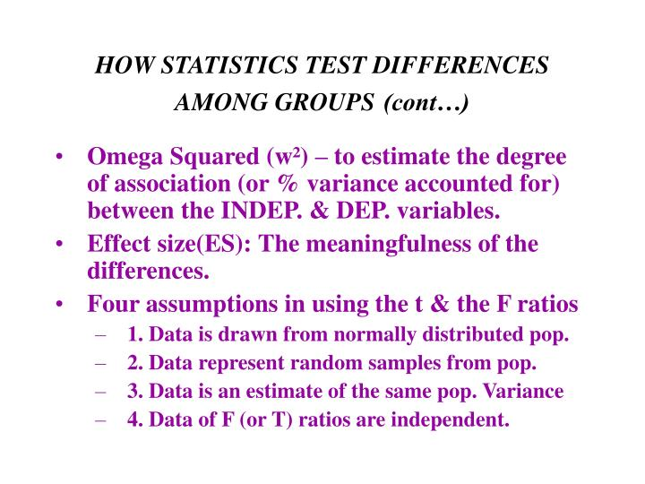 How statistics test differences among groups cont
