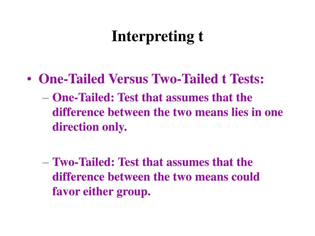 Interpreting t