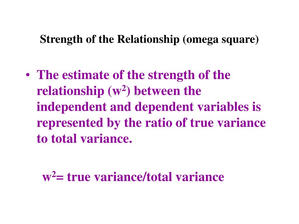 Strength of the Relationship (omega square)