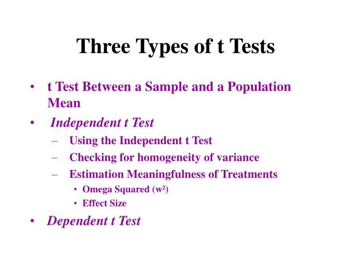 Three types of t tests